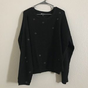 NWT-Hot Topic Black sweater with grommets.